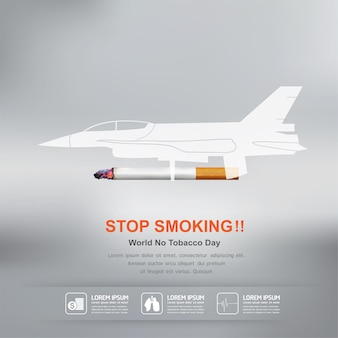 Arrêter de fumer vector concept journée mondiale sans tabac.