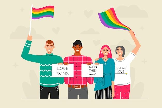 Arrêter l'homophobie dessinés à la main