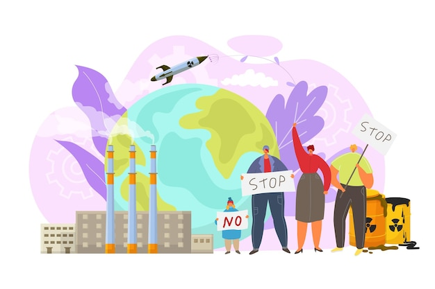 Arrêter l'illustration de la grève de la pollution