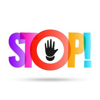 Arrêter l'illustration lumineuse de signe coloré
