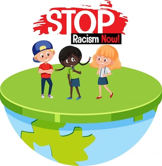 Arrêter le texte de police de racisme avec caractère