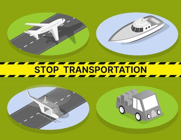 Arrêter le transport en raison de la quarantaine, des véhicules