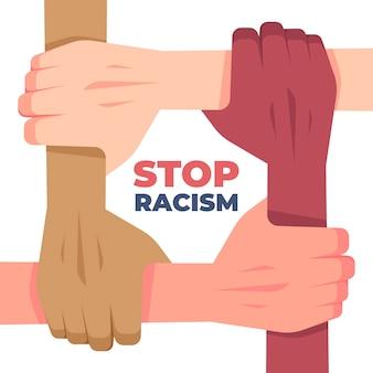 Arrêtez le concept de racisme avec des mains multiraciales