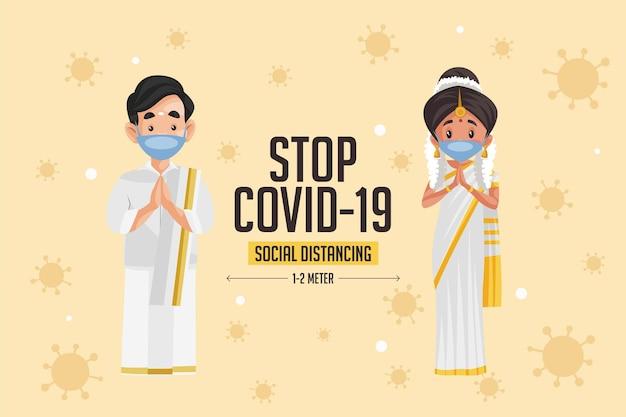 Arrêtez la conception de bannières de distanciation sociale covid 19