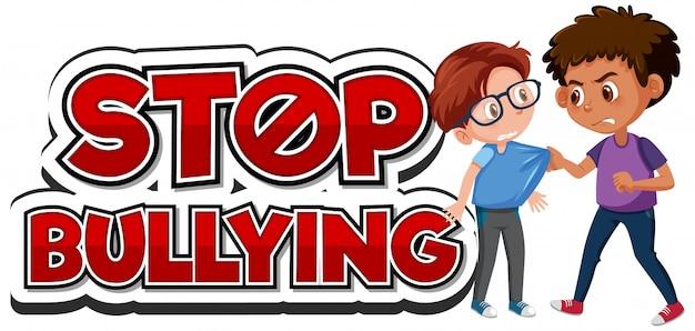 Arrêtez la conception de polices de violence domestique avec un ami intimidant un garçon