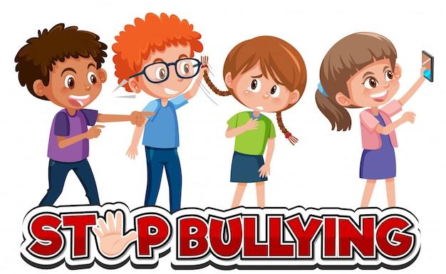 Arrêtez la conception de polices de violence domestique avec des enfants intimidant un ami
