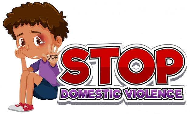 Arrêtez la conception de polices de violence domestique avec un garçon qui pleure