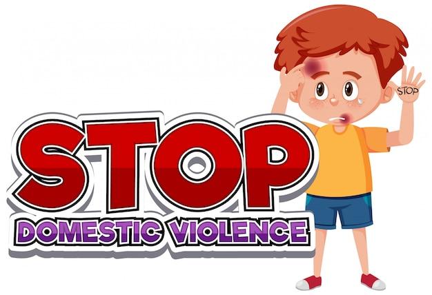 Arrêtez la conception de polices de violence domestique avec un garçon triste