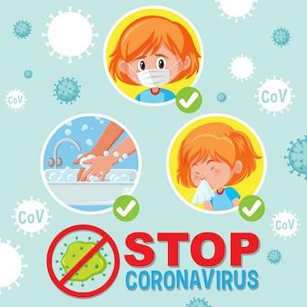 Arrêtez le coronavirus avec une fille faisant l'étape de la prévention du coronavirus
