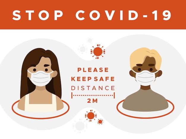 Arrêtez covid-19, gardez le panneau de distance de sécurité
