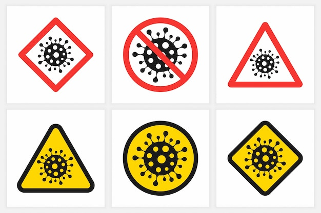 Arrêtez les différents signes du coronavirus sur blanc