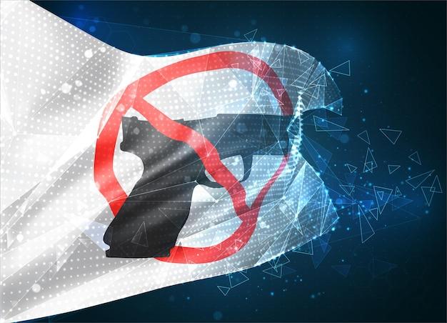 Arrêtez le drapeau de vecteur de guerre, objet 3d abstrait virtuel des polygones triangulaires sur un fond bleu
