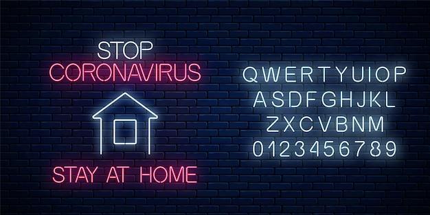Arrêtez l'enseigne au néon de coronavirus avec l'icône de rester à la maison et l'alphabet. symbole d'avertissement du virus covid-19 dans un style néon