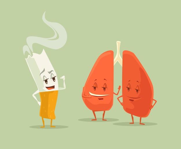 Arrêtez de fumer la cigarette et illustration de dessin animé plat plus léger