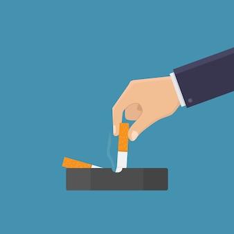 Arrêtez de fumer, éteignez la cigarette dans le cendrier