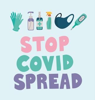 Arrêtez le lettrage de propagation de covid en couleur avec des gants, des bouteilles, un masque de sécurité et un vecteur de thermomètre