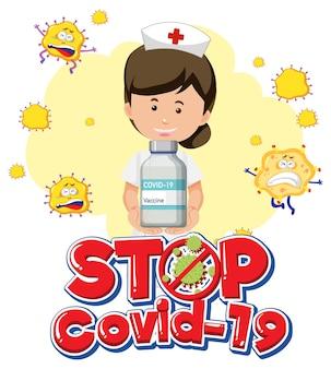 Arrêtez le logo ou la bannière covid-19 avec un personnage de dessin animé d'infirmière tenant une bouteille de vaccin covid-19