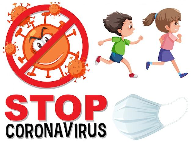 Arrêtez le logo du coronavirus avec des enfants qui courent