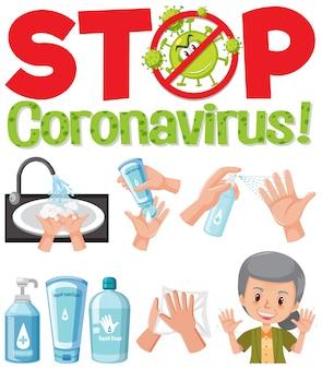 Arrêtez le logo du coronavirus avec la main en utilisant des produits désinfectants