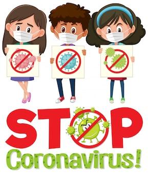 Arrêtez le logo du coronavirus avec trois adolescents tenant un panneau d'arrêt du coronavirus