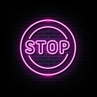 Arrêtez le modèle de conception de vecteur d'enseignes au néon dans le style néon