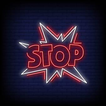 Arrêtez les néon signes style texte vecteur