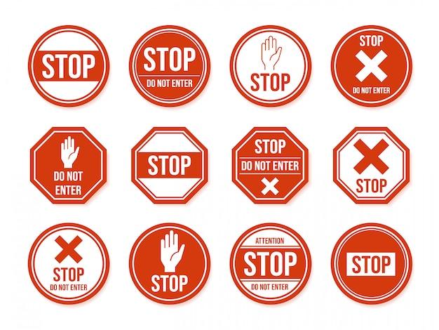 Arrêtez le panneau routier. symbole d'arrêt de la circulation routière, symboles urbains et routiers dangereux, restreints, jeu d'icônes de panneaux de direction d'avertissement. attention et interdire les pictogrammes