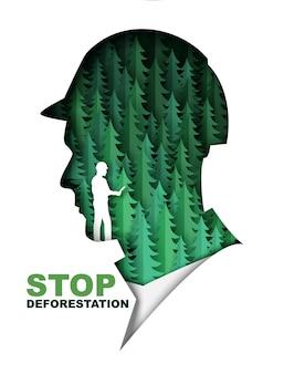 Arrêtez le papier de modèle de bannière d'affiche de déforestation coupé des sapins verts à l'intérieur de l'illustration vectorielle de la tête de l'homme ...