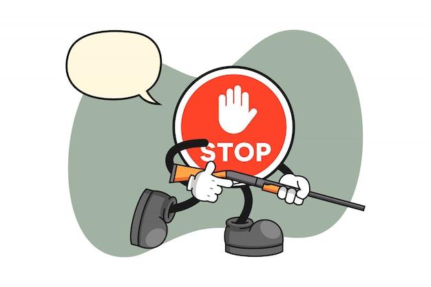 Arrêtez le personnage de dessin animé de signe en tant que chasseur
