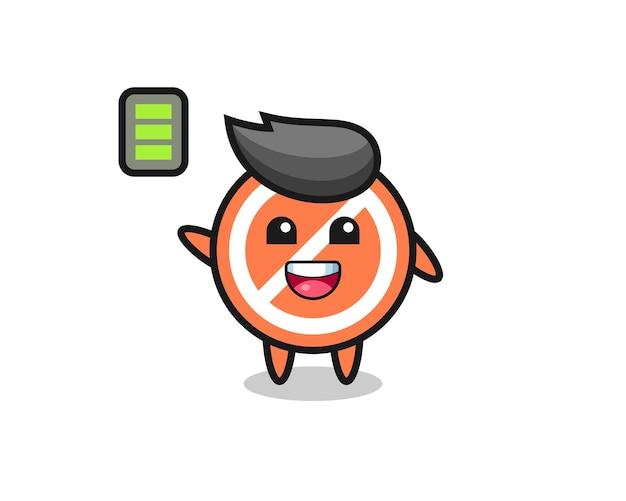 Arrêtez le personnage de mascotte avec un geste énergique, un design de style mignon pour un t-shirt, un autocollant, un élément de logo