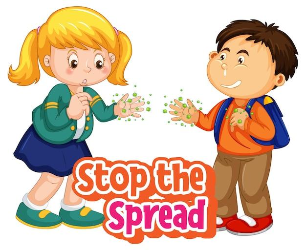 Arrêtez la police spread avec deux enfants, ne gardez pas la distance sociale isolée sur fond blanc