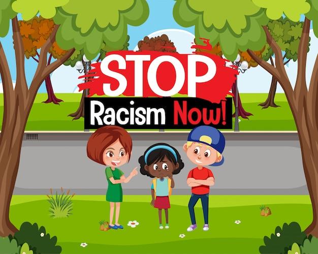 Arrêtez le racisme avec une fille victime d'intimidation