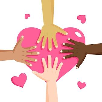 Arrêtez le racisme avec les mains et le cœur
