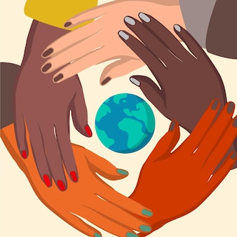 Arrêtez le racisme avec les mains et la planète