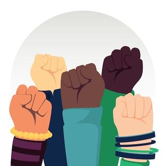 Arrêtez le racisme avec les poings levés