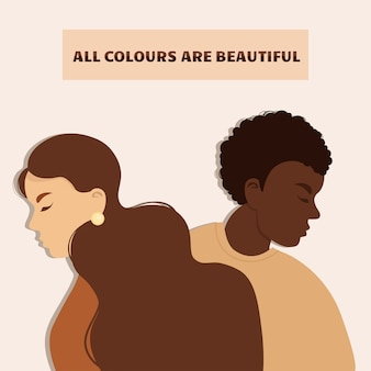 Arrêtez le racisme. les vies noires comptent, nous sommes égaux. pas de concept de racisme. style plat. différentes couleurs de peau. illustration à l'appui.