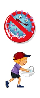 Arrêtez le signe du coronavirus avec un garçon se lavant les mains sur fond blanc