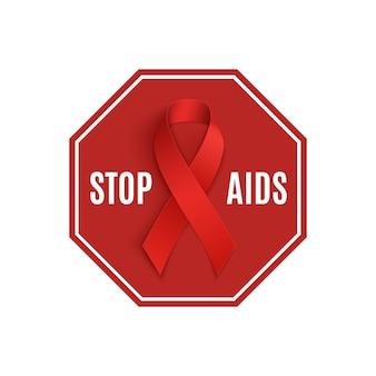 Arrêtez le signe du sida avec un ruban rouge.