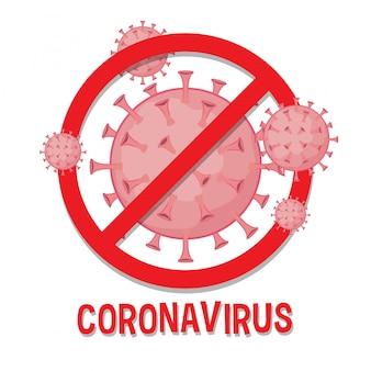 Arrêtez le style de dessin animé de signe prohitbit coronavirus