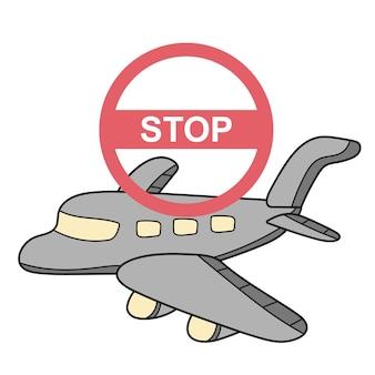 Arrêtez de voyager vers des endroits à risque covid-19. prévention du coronavirus. protection contre le coronavirus. illustration vectorielle. avion avec symbole d'arrêt