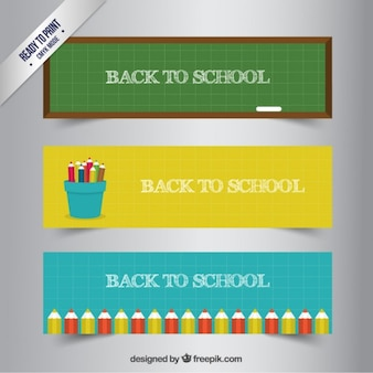 Arrière colorée aux bannières scolaires