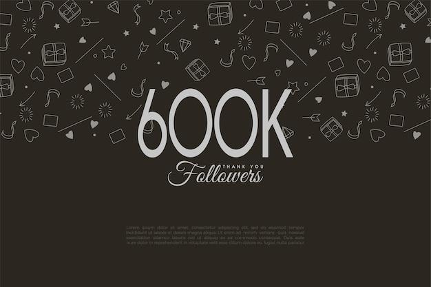 Arrière-plan de 600 000 abonnés avec des chiffres et des vignettes