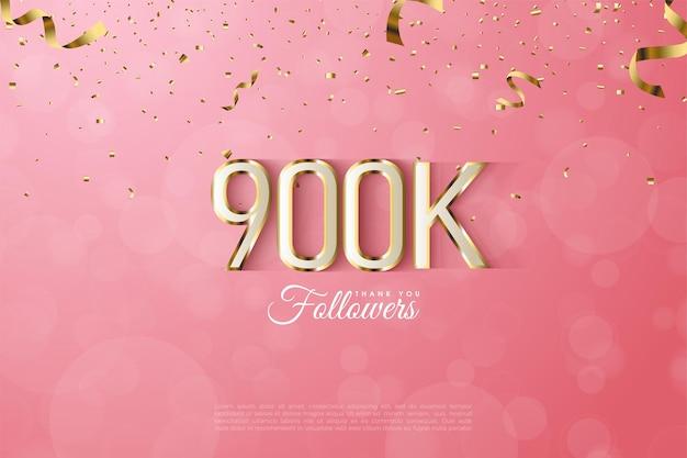 Arrière-plan d'abonné 900k avec des chiffres luxueux bordés d'or