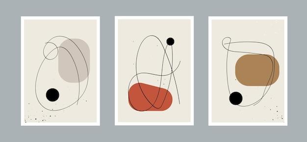 Arrière-plan abstrait des arts de la ligne avec différentes formes pour la couverture de carte postale ou de brochure de décoration murale