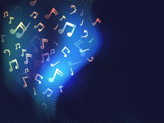 Arrière-plan abstrait de couche de vague en pointillé avec des notes de musique à effet de lumière.