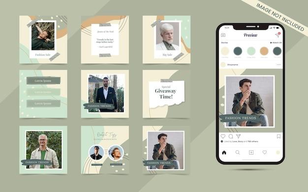 Arrière-plan abstrait de forme organique pour l'ensemble de publication de carrousel de médias sociaux du modèle de promotion de bannière de vente de mode instagram