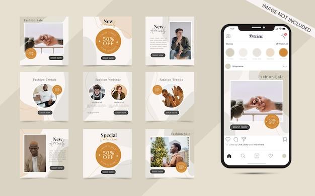 Arrière-plan abstrait de forme organique pour un ensemble de publication de carrousel de médias sociaux transparent de promotion de bannière de vente de mode instagram
