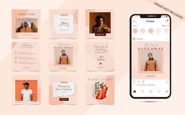 Arrière-plan abstrait de forme organique pour les médias sociaux, ensemble de bannières de promotion de la vente de mode instagram
