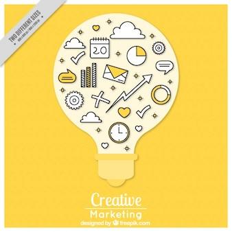 Arrière-plan de l'ampoule avec des icônes de médias sociaux