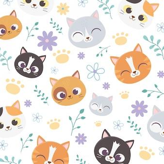 Arrière-plan animal chats visage fleurs patte floral décoration dessin animé illustration